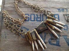Pyrite, Crystal, and Howlite Dagger Necklace by Myrrh Handmade, 2014 Little Craft Show vendor