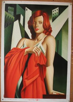 art deco paintings | Red hair in Paintings: Red haired females in red surroundings