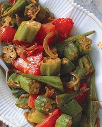 Stewed Okra and Tomatoes Recipe - Peggy Markel and Soban Singh Bedla Vegetable Side Dishes, Vegetable Recipes, Vegetarian Recipes, Healthy Okra Recipes, Wine Recipes, Indian Food Recipes, Cooking Recipes, Okra And Tomatoes, Stewed Tomatoes