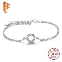 Simple 925 Sterling Silver Hearts Of Brand, Clear CZ Round Shaped Charm Bracelet for Women Link Chain Bracelet Wedding Jewelry