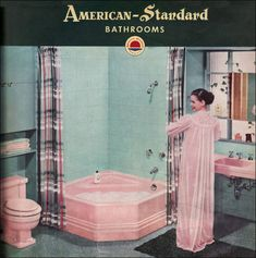 A pink toilet, pink sink, and pink corner tub. The face on the girl is pretty though. American Standard catalog picture from the I think. Art Nouveau, Art Deco, Pink Poodle, Pink Bathtub, Pink Tub, Bungalow, Colored Toilets, Pink Toilet, Grand Art