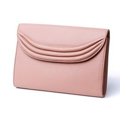 Chic envelope style cutch in rose gold leather with trademark Lauren Cecchi curved ribbing detail. Gold Leather, Real Leather, Rose Gold Clutch, Women Accessories, Fashion Accessories, Leather Handbags, Continental Wallet, Purses, York