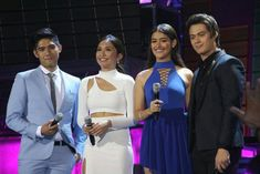This is Robi Domingo, Kathryn Bernardo, Liza Soberano, and Enrique Gil doing their hosting stint during Himig Handog P-Pop Love Songs Grand Finals held at the Kia Theater in Quezon City last April 24, 2016. Indeed, they're are another of my favourite Kapamilyas, and they're amazing Star Magic talents. #RobiDomingo #KathrynBernardo #TeenQueen #EnriqueGil #LizaSoberano #AteHopie #LizQuen #HimigHandog2016 Liza Soberano, Child Actresses, Child Actors, Inigo Pascual, Half Filipino, Enrique Gil, Daniel Padilla, Star Magic, Kathryn Bernardo
