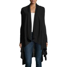 Neiman Marcus Long-Sleeve Draped Waterfall Cardigan ($110) ❤ liked on Polyvore featuring tops, cardigans, black, long sleeve tops, open front cardigan, cardigan top, shawl collar open front cardigan and relaxed fit tops