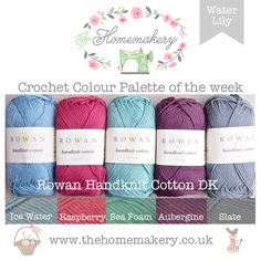This weeks Water Lily Crochet Colour Palette uses water toned yarn with a pop of pink and purple from Rowan Handknit Cotton DK, a lovely soft yarn made from 100% cotton.