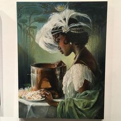 In awe of this gorgeous art of Princess Tiana by Heather Theurer at An Art Tribute to the Disney Films of Ron Clements and John Musker at @gallerynucleus. Head to our Instagram story for more!