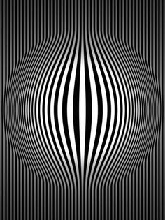 Op art bulging vertical stripes black and white two optical Cool Illusions, Optical Illusions, Optical Illusion Art, Illusion Kunst, Graphic Art, Graphic Design, Psychedelic Art, Geometric Art, Fractal Art
