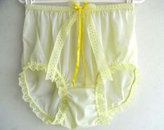 Yellow Sheer Nylon Granny Panties Briefs Panty Yellow Lace Leg Trimmed Bow Ribbon Lacy Underwear Nylon Knickers For Men & Women Lingerie Yellow Lingerie, Vintage Underwear, Granny Panties, Girls In Panties, Lingerie For Men, Plastic Pants, Yellow Lace, Briefs, Fashion Design