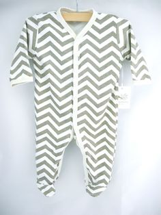 beige chevron coverall organic baby footie by luckypalmtree