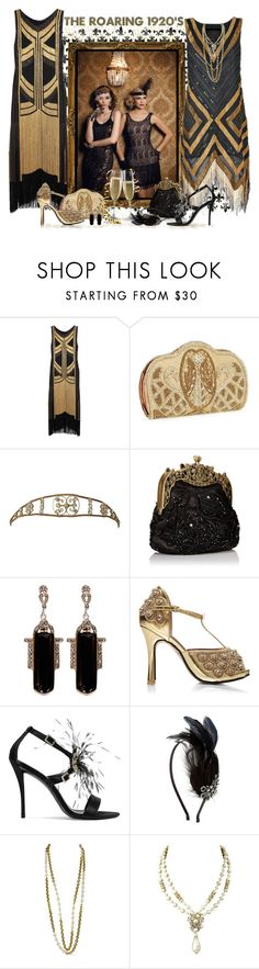 """The Roaring 20's - Gold & Black"" by love-n-laughter ❤ liked on Polyvore featuring Christian Dior, Gucci, Natasha, Roger Vivier, Alexon, Chanel, Robert DeMario and vintage"