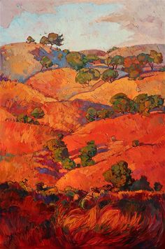 Layers of Oak:  Red and burgundy rolling hills of Paso Robles, painted in oils by artist Erin Hanson