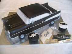 1957 Chevy   3D Car, Chevy logo cookies with monogram and Chevy logo cupcakes.