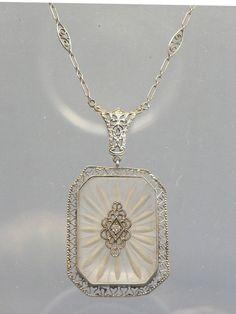 Elegant Edwardian Camphor Glass 14k White Gold Necklace 17 Inch