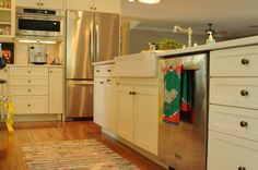 before and after kitchen transformation; love the sink!