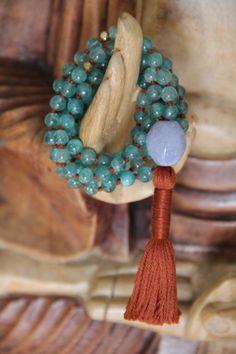 manifestation and balance, natural apatite & chalcedony, 108 knotted gemstone zen mala, yoga necklace, prayer beads