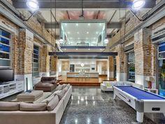 exposed brick + room in the air Loft Spaces, Living Spaces, Brick Room, Brick Face, Masculine Interior, Interior Decorating, Interior Design, Industrial Decorating, Home Additions