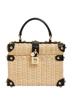 46459e7924c5 DOLCE   GABBANA DOLCE BOX WICKER   DAUPHINE LEATHER BAG.  dolcegabbana  bags   leather  lining  accessories  shoulder bags  charm  hand bags