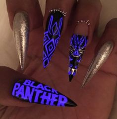 """If you're unfamiliar with nail trends and you hear the words """"coffin nails,"""" what comes to mind? It's not nails with coffins drawn on them. Although, that would be a cute look for Halloween. It's long nails with a square tip, and the look has. Cute Nails, Pretty Nails, Avengers Nails, Nail Design Stiletto, Stiletto Nails, Coffin Nails, Glow Nails, Black Nail Art, Dark Nails"""