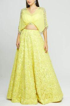 Buy Embroidered Lehenga Set by Neeta Lulla at Aza Fashions Neeta Lulla, India Usa, Yellow Blouse, Lehenga, Neckline, Sequins, Indian, Floral, Skirts