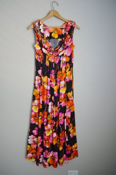 b7869c907a8 DRESS SALE - 25% off - vintage 50s 60s Black Pink Fuchsia Hibiscus Maxi  Hawaiian