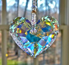 "Crystal Heart Sun Catcher, Car Charm 36mm Swarovski Aurora Borealis Heart Glows in Low Light - Choice of 3 Lengths for Home or Car - ""ANIKA"""