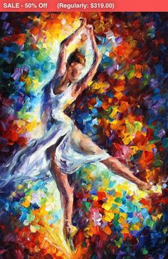 Leonid Afremov has a series of ballet arts which give you an excellent choice of ballet-inspired works. This oil painting on canvas is one of them – and definitely one of the best artworks of his. Title: Candle Fire Size: 24 x 36 inches (60 cm x 90 cm) Condition: Excellent Brand