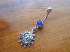 Belly button ring - Body Jewelry - Sun belly ring with dark blue gem