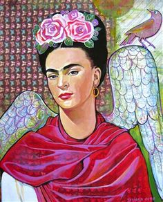 "Mixed media collage painting ""Frida Kahlo- Black dove"" by Tatiana Oles - Media - Quilting Daily"