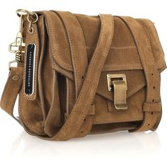 b1c168e8e Proenza Schouler PS1 Small suede satchel (€1.050) ❤ liked on Polyvore  featuring bags, handbags, bolsos, borse, clasp purse, brown suede purse, ...