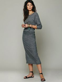 Cute casual jersey dress and flats  jean dress#2dayslook #alice257891 #jeansfashion  ww.2dayslook.com