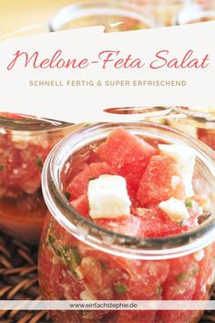 Melone-Feta-Salat der Sommersalat von einfachStephe.de Couscous, Wellness, Vegetables, Super, Mary, Yummy Food, Food And Drinks, Watermelon, Finger Food