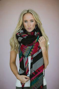 Tribal Oversized Fringed Poncho Scarf - Boho Aztec Shawl Scarf - Hand-spun brushed knitted scarf warm winter wrap Chunky scarf