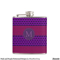 Pink and Purple Patterned Stripes Personalized Hip Flask