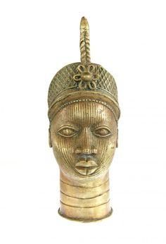 Brass Tribal Eve Head - Benin City, Nigeria #538 | Figures | Metal — Deco Art Africa - Decorative African Art - Ethnic Tribal Art - Art Deco...