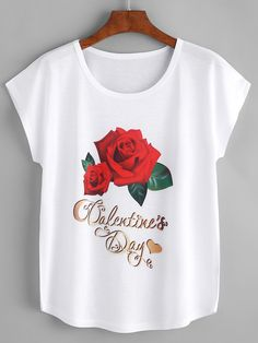 Shop Rose Print Tee online. SheIn offers Rose Print Tee & more to fit your fashionable needs.