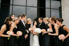 Peach black gold wedding party