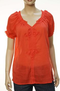 Lucky Brand Women's Short Sleeve Split V-Neck « Clothing Impulse