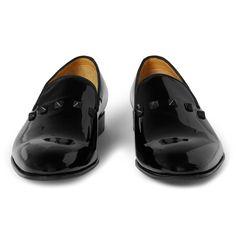 ValentinoStudded Patent-Leather Slippers|MR PORTER