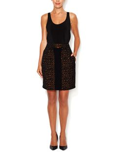 Metallic Jacquard Pencil Skirt from Designer Workwear Feat. Armani Collezioni on Gilt