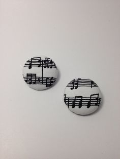 Music Note Fabric Button Earrings on Etsy, $5.00