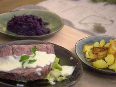 Das perfekte Tellerfleisch mit Meerrettichsoße auf Wurzelgemüse mit Bratkartoffeln-Rezept mit einfacher Schritt-für-Schritt-Anleitung: Zunächst die…