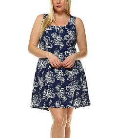Navy Floral A-Line Dress - Plus