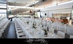 Cavalli Stud Farm Wedding Venue.  Greg Lumley Photographer.  White Table Decor.