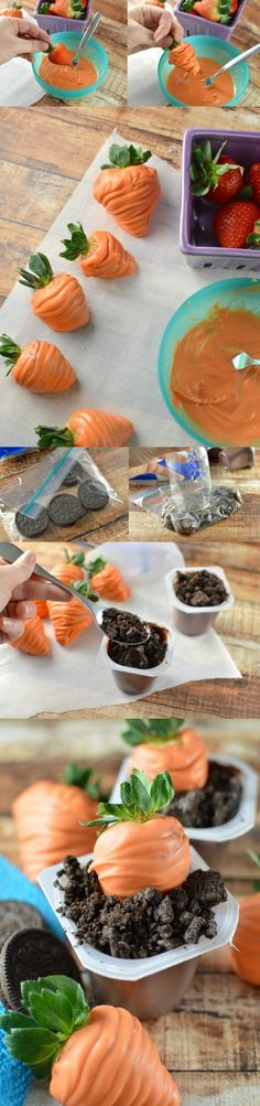 """Make these darling Easter treats with pudding cups, Oreos, and strawberries. These are the cutest carrots in delicious cookie """"dirt!"""""""