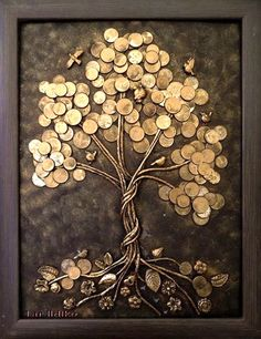 This glue art work gives a really nice effect making certain parts of the work look – artofit – Artofit Button Art, Button Crafts, Art Diy, Diy Wall Art, Coin Crafts, Glue Art, Coin Art, Money Trees, Metal Tree Wall Art