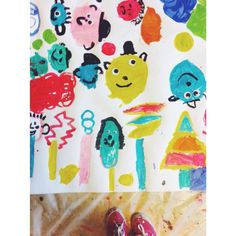 trees and happy faces made by 3-5 years old kids  #painting #workshop #kids #happyfaces