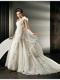 A-line One Shoulder Chapel Train Lace Wedding Dresses 1501070
