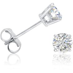 1/2ct tw.Round Diamond Stud Earrings set  in 14K White Gold (5.705 UYU) ❤ liked on Polyvore featuring jewelry, earrings, accessories, stud earrings, white gold earrings, 14k stud earrings, white gold jewellery, diamond earrings and round earrings
