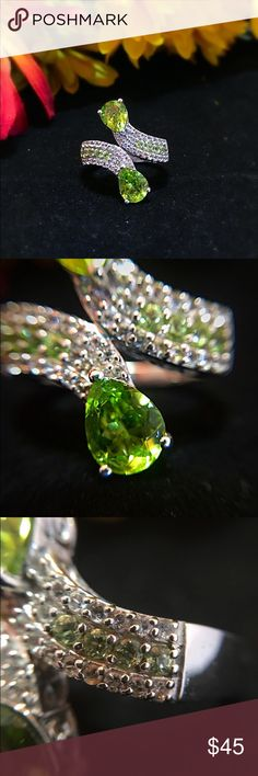 Peridot and White Topaz Ring Beautiful Hebei Peridot and White Topaz Platinum over Sterling Silver Ring. TGW 4.220 cts. Jewelry Rings
