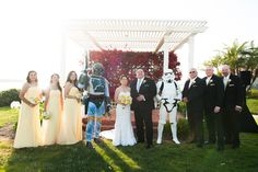 #starwars theme wedding at the Hilton San Diego Resort and Spa. A love for #stormtroopers and #bobafett was later shared with all guest for their grand entrance. very happy groom. #sandiegowedding with Josefina Events